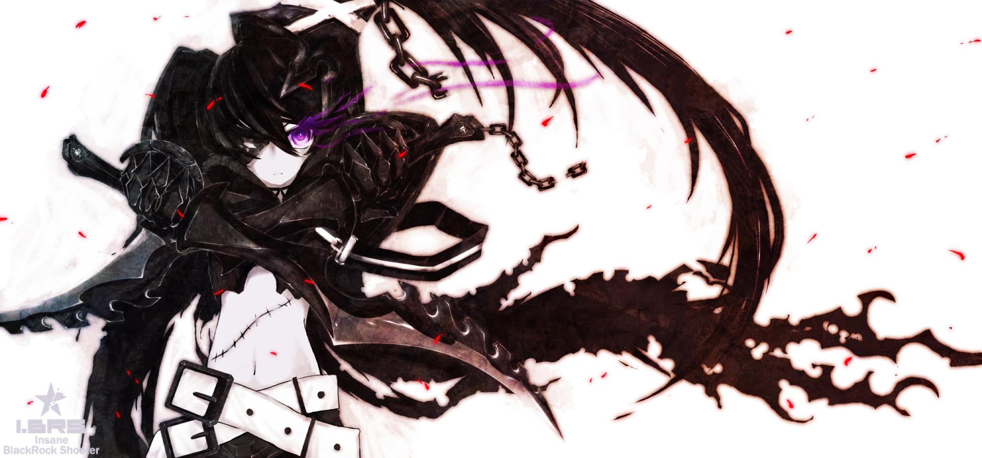 armor auer black_hair black_rock_shooter chain eyepatch fire huke insane_black_rock_shooter long_hair purple_eyes scar sword twintails weapon