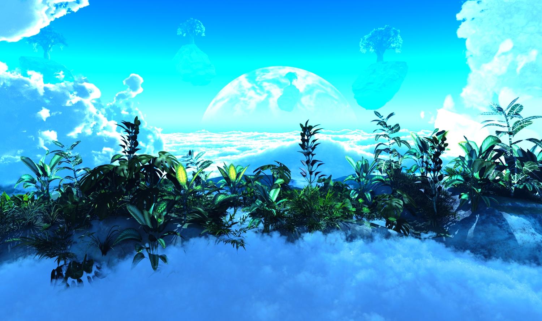 3d clouds grass moon nobody original scenic sky tree y-k